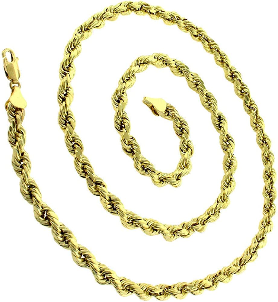 10k Yellow Gold Hollow Rope Diamond-Cut Braided Twist Link Chain Necklace 2MM 3MM 4MM 5MM 5.5MM 6.5MM 7MM 8MM 16-32 In Style Designz Men /& Women Real 10k Gold