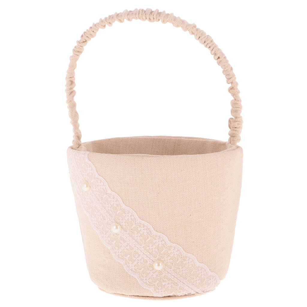 Jili Online Shabby Country Lace Pearl Beige Burlap Linen Basket Wedding Bridesmaid Flower Girl Petals Basket Party Home Decor by Jili Online