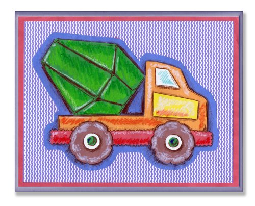 - The Kids Room by Stupell Orange and Green Cement Truck on Blue Stripes Rectangle Wall Plaque