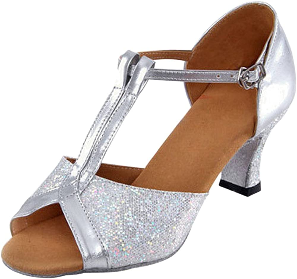 ZEVONDA T-Strap Sequins Womens Tango Latin Dance Mid Heel Pump Peep-Toe Shoes
