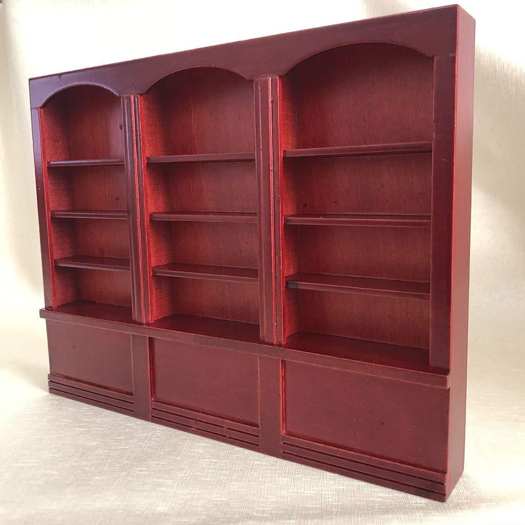 Karooch 1:12 Dollhouse Miniature Wooden Triple Bookcase Pocket Display Cabinet Treasure Showcase Storage Shelf Cupboard Mini Furniture Accessories Model