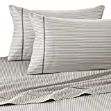 Rajlinen 400 Thread Count 100% Cotton Sheet Set Stripe Printed King 15' Deep In Grey