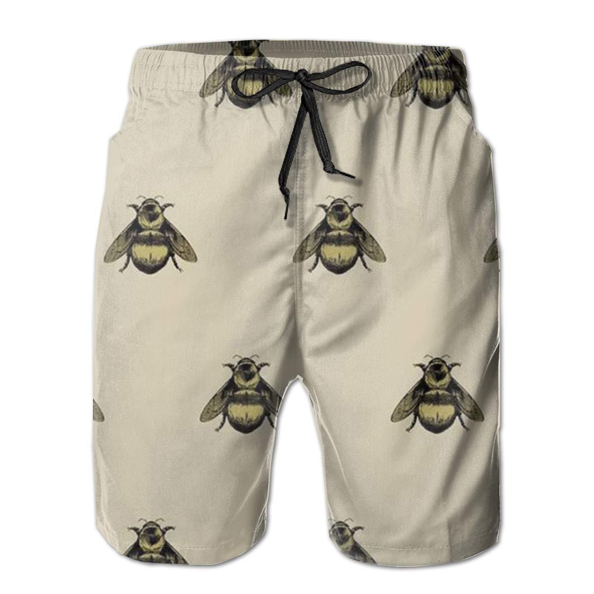 LDFUMG Cartoon Bee Mens Beach Board Shorts Quick Dry Summer Casual Swimming Soft Fabric with Pocket