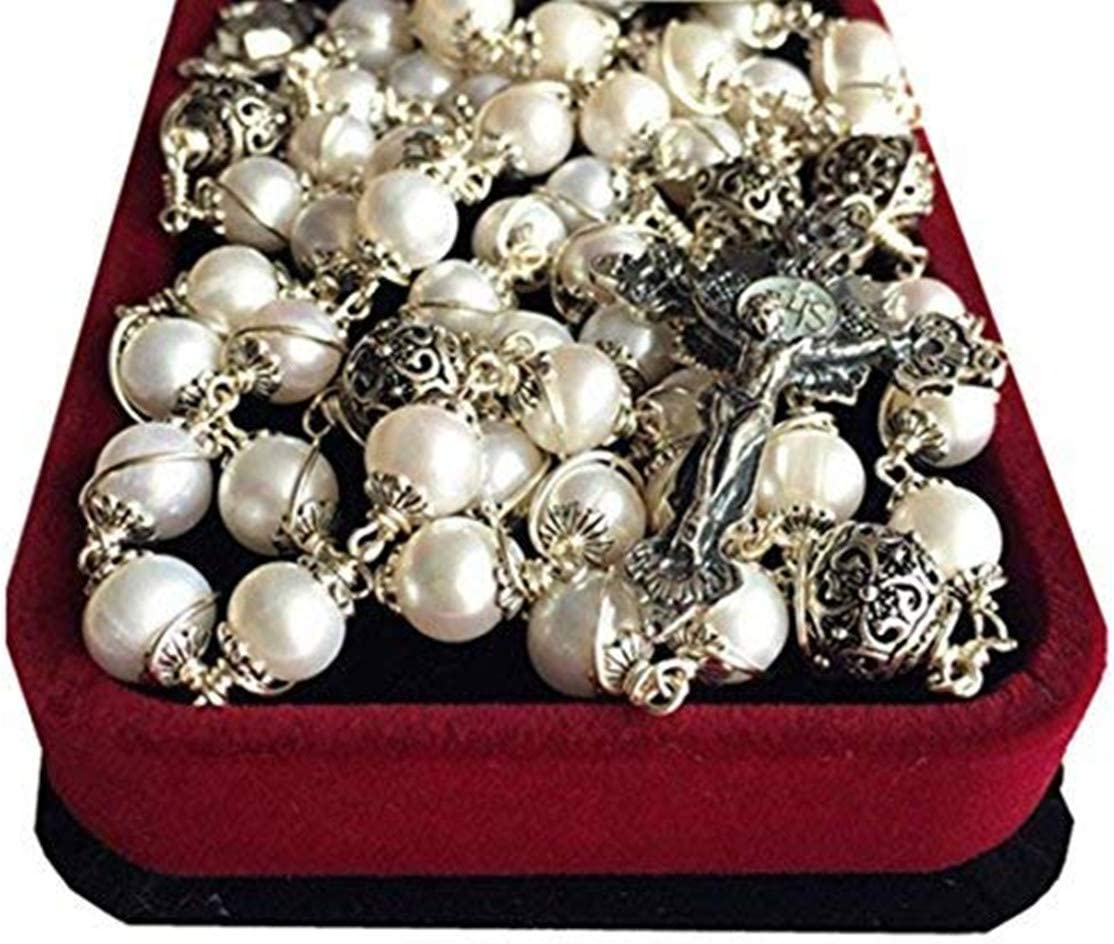 elegantmedical Wire Wraped Bali 925 Sterling Silver Pearl Beads Rosary Necklace Cross
