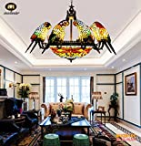 Cheap Makenier Tiffany Style Stained Glass Baroque Vintage 20 Inches Dragonfly + 8 Arms Parrot Big Chandelier