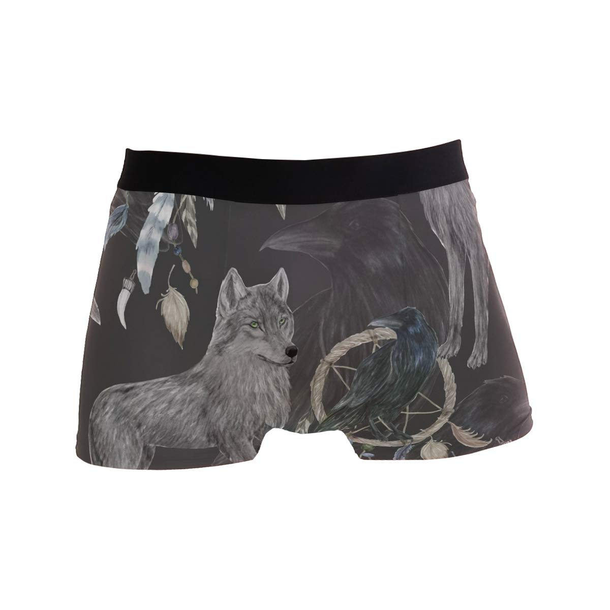 BETTKEN Mens Boxer Briefs Animal Wolf Boho Feather Short Underwear Soft Stretch Underpants for Men Boys S-XL