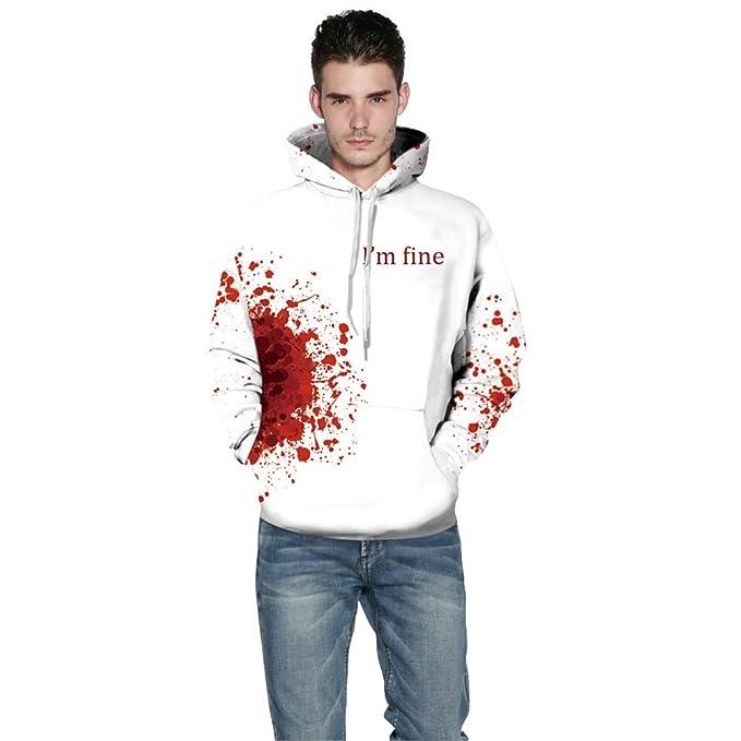 Halloween Looks For Men.Lemoner Halloween Style Men White Hoodie Blood I M Fine Print With Pocket Lace