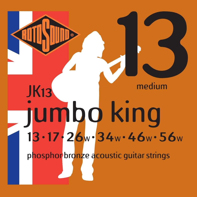 Rotosound JK13 - Juego de cuerdas para guitarra acústica de fósforo/bronce, 13 17 26 34 46 56