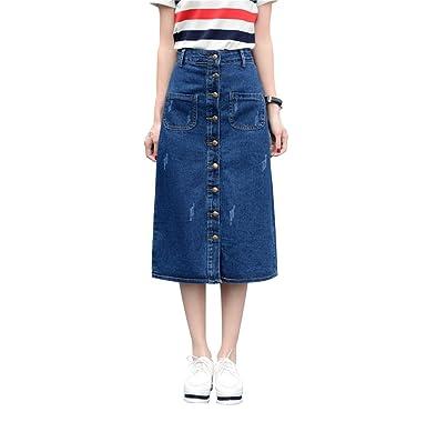 75aa4bf6b2 YiLianDa Femme Jupe Élégante Taille Haute A Line Longue Jupe avec Poches  Jupe en Jean avec