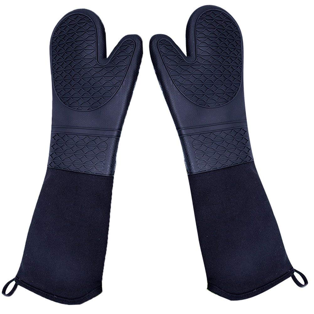 """DoMii Professional Silicone Oven Mitts Baking Gloves Elbow Length Heat Resistant Quilted Gloves 2-Pack 19.5"""" Wave"""