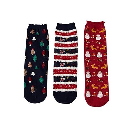 Calcetines Navidad mujeres Cartoon Animal diseño invierno Calcetines Casual Papá Noel árbol de Navidad muñeco de
