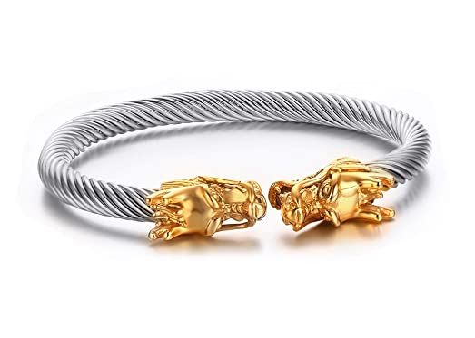 Amazon Com Men S Stainless Steel Opposite Dragon Head Wire Cuff