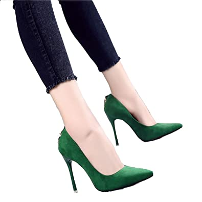 746c810b41 Hyun Times Green High Heels Pointed Fine with Sexy Shoes (Color : Green,  Size