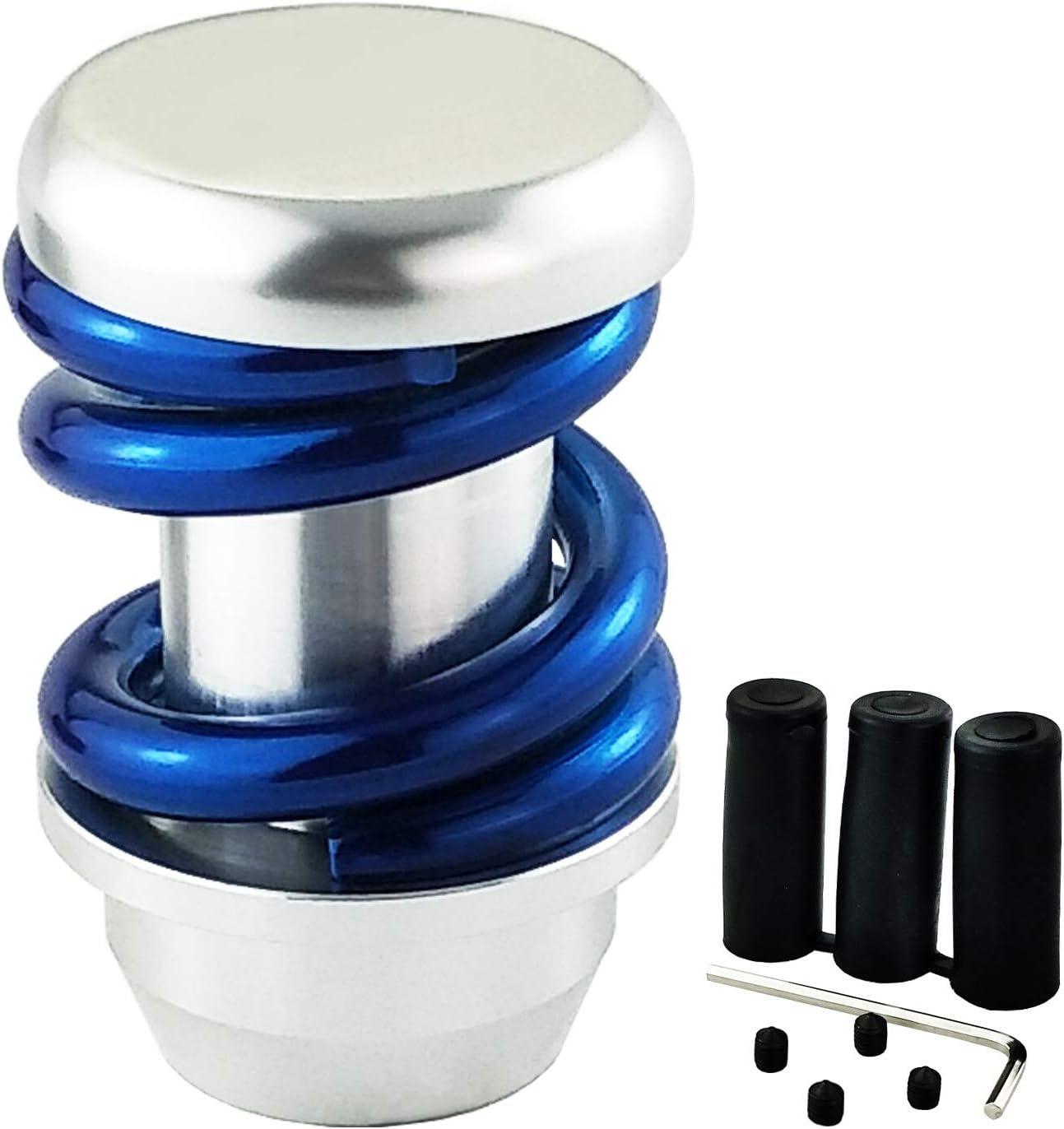 LUNSOM Manual Automatic Transmission Universal Car Shifter Knob Blue Aluminium Alloy Knobs Shift Gear Stick Head