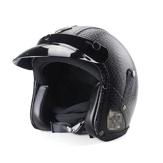 FHGH Cascos Half-Helmet ABS Casco Lente HD Cerradura De Seguridad ...
