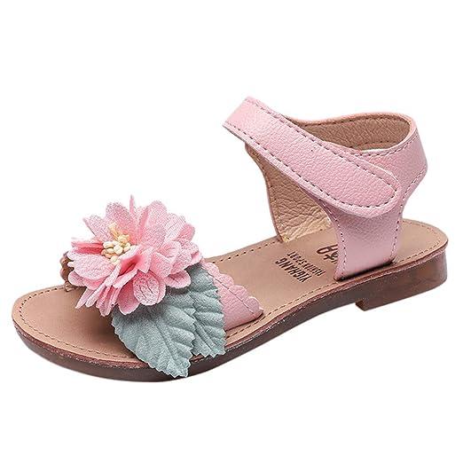 53b4d0f49f963 Amazon.com: Children Girls Sandals Jifutan Velcro Flowers for 3-9 ...