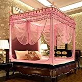 Drop-proof mosquito net, Double Home Thick Top yurt with zipper bed canopy-B 180x220cm(71x87inch)