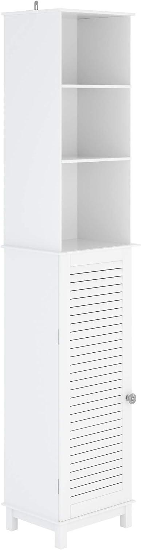 Homfa Armario de Baño Mueble Baño Alto Armario de Suelo con 6 Estantes 1 Puerta para Salón Dormitorio Oficina Cocina Madera Blanco 37x30x180cm