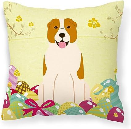 Caroline S Treasures Bb6049pw1414 Easter Eggs Central Asian Shepherd Dog Fabric Decorative Pillow 14hx14w Multicolor Garden Outdoor