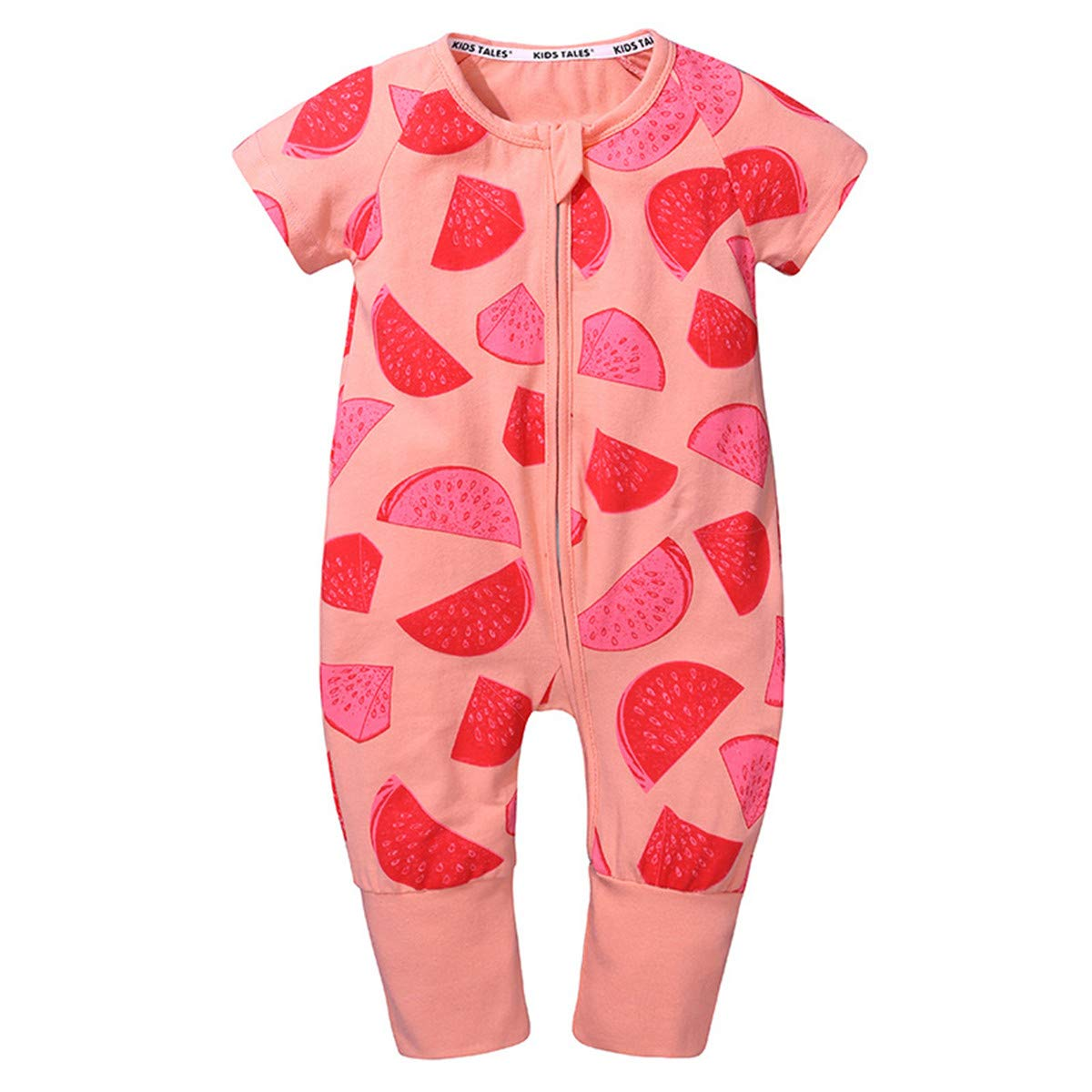 Amberetech Infant Toddler Baby Boys Girls One-Piece Rompers Long Jumpsuit Summer Pajama Sleeper Outfit (Style N - Watermelon (Pink), for 3-6 Months) by Amberetech