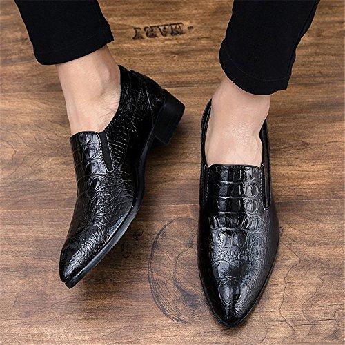 Scarpe da Scarpe Pelle Uomo Texture PU da Loafer di in in Oxford Slip Cricket di Business Modern Nero Pelle Penny on Coccodrillo Scarpe rRP8Yr