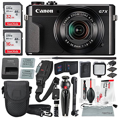 Canon PowerShot G7 X Mark II Digital Camera Video Creator Kit with Manfrotto Pixi Table Top Tripod and Deluxe Accessory Bundle w/Xpix Cleaning Kit