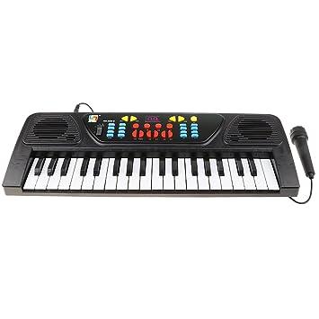 D DOLITY Teclado De órgano Eléctrico DE 37 Teclas Micrófono De Piano Set De Juguete Musical USB De Carga: Amazon.es: Juguetes y juegos