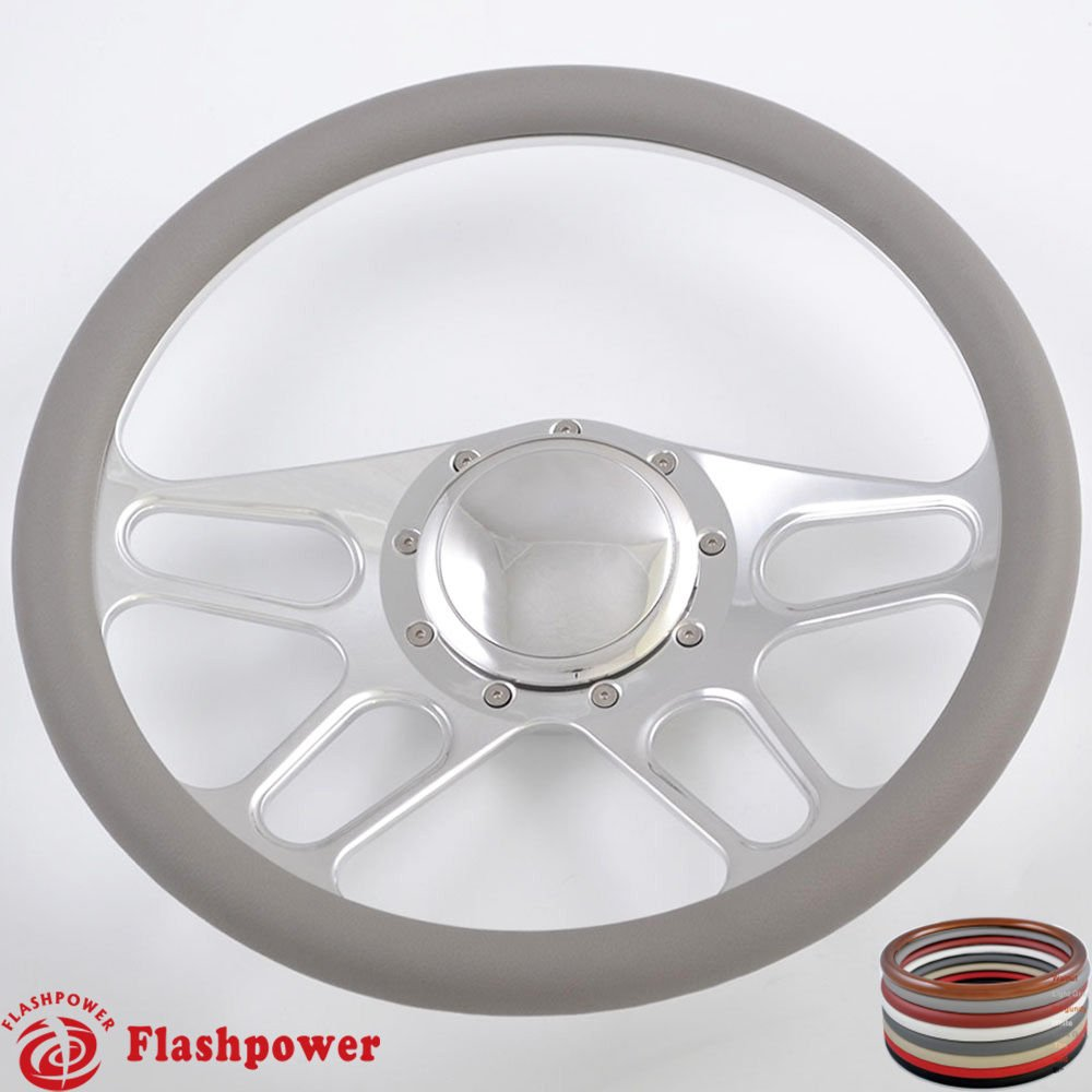 Flashpower 14'' Billet 4-slot Half Wrap 9 Bolts Steering Wheel with 2'' Dish and Horn Button (Light Grey)