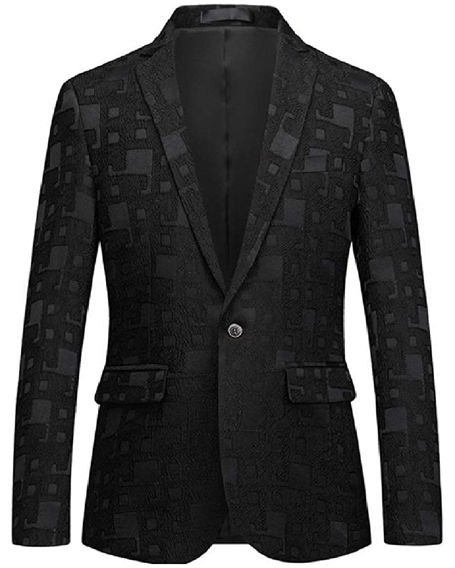 Mirrliy Mens Bussiness Single-Breasted Premium Polo Dark Bands Sports Coat Blazers