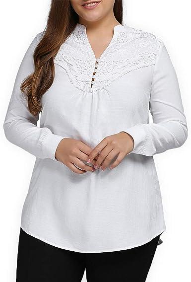 Lenfesh Blusa Mujeres Talla Grande Camiseta de Encaje Cuello en V Elegantes Casual Camisas Blanco para Mujer XL-5XL: Amazon.es: Ropa y accesorios