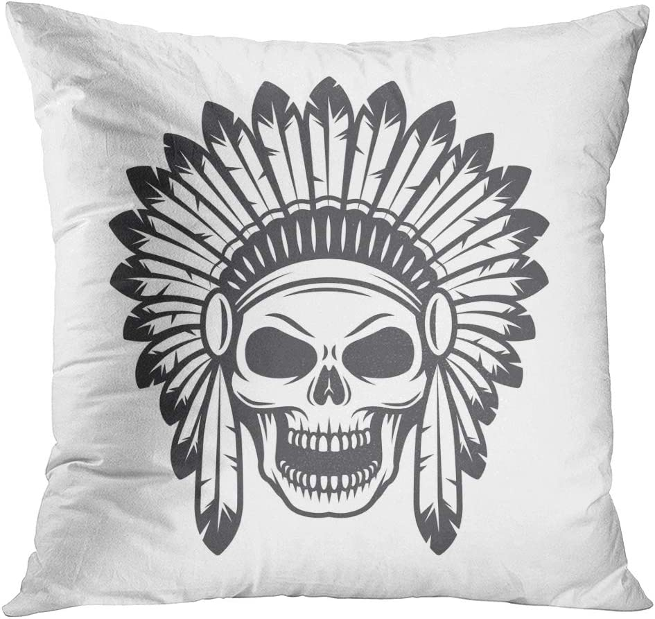 American Flag Skull Feather Cushion