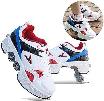 Pinkskattings@ Zapatillas De Deporte Unisex Niños Rodillos De Deformación con Rueda De Deformación De Doble Fila Zapatos De Doble Propósito Maravillosas Ideas De Regalos: Amazon.es: Deportes y aire libre