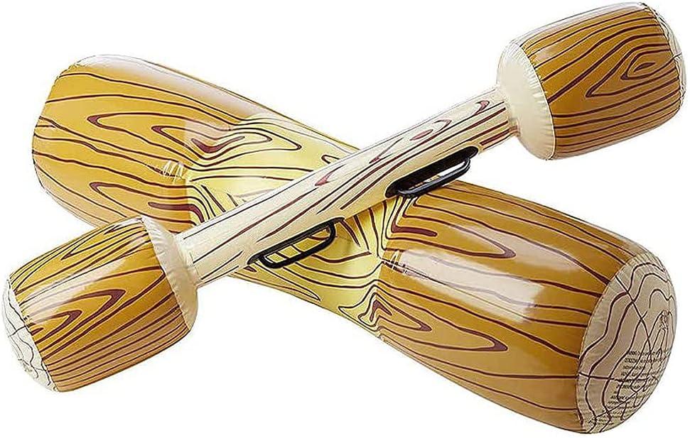 MOPOIN PVC Deportes acuáticos Piscina Playa Juego de Batalla Flotador Inflable Forma de Madera Flotador Juguete Inflable Jugar Colisión en Barco Piscina de Playa al Aire Libre Juguete