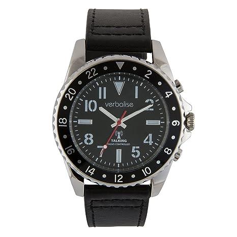 Verbalise - Reloj de pulsera para hombre con correa de piel, color plateado