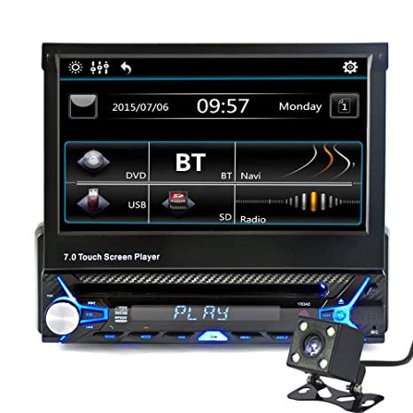"KKmoon 7 "" Reproductor MP5 Audio Coche BT Contraccion HD Pantalla Táctil, Retráctil Automático"