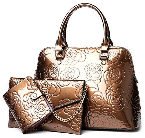 - QZUnique Women's Shiny Patent PU Leather Top Handle Bag Tote Cross boday Bag Satchel
