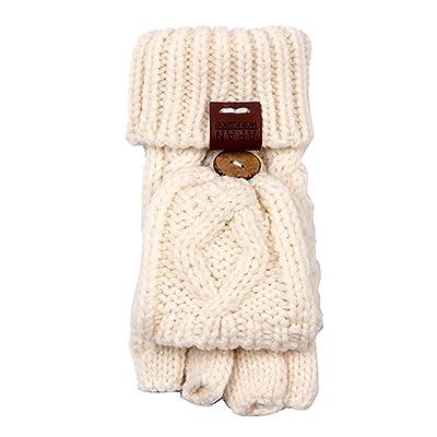 Aran Workshop Cream White Foldover Cable Knit Fingerless Mitts