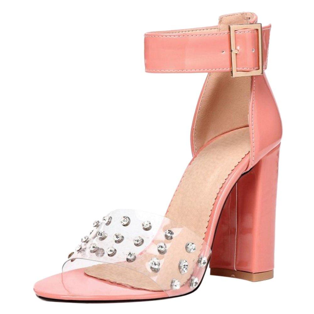 TAOFFEN Damen High Heels Sandalen Party Schuhe  38 EU|Pink