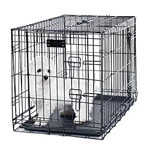 PETMAKER Small 2 Door Foldable Dog Crate Cage, 24 x 19″