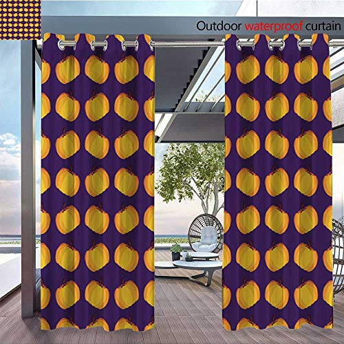 QianHe Outdoor- Free Standing Outdoor Privacy Curtain Orange-Purple-Holiday-Seamless-Halloween-Pattern.jpg for Front Porch Covered Patio Gazebo Dock Beach Home W72 x L96(183cm x 245cm) ()