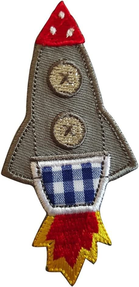 2 Parche de bordado o planchado Cohete 5X9Cm Turquesa Pájaro 9X8Cm termoadhesivos bordados aplique para ropa con diseño de TrickyBoo Zurich Suiza por España