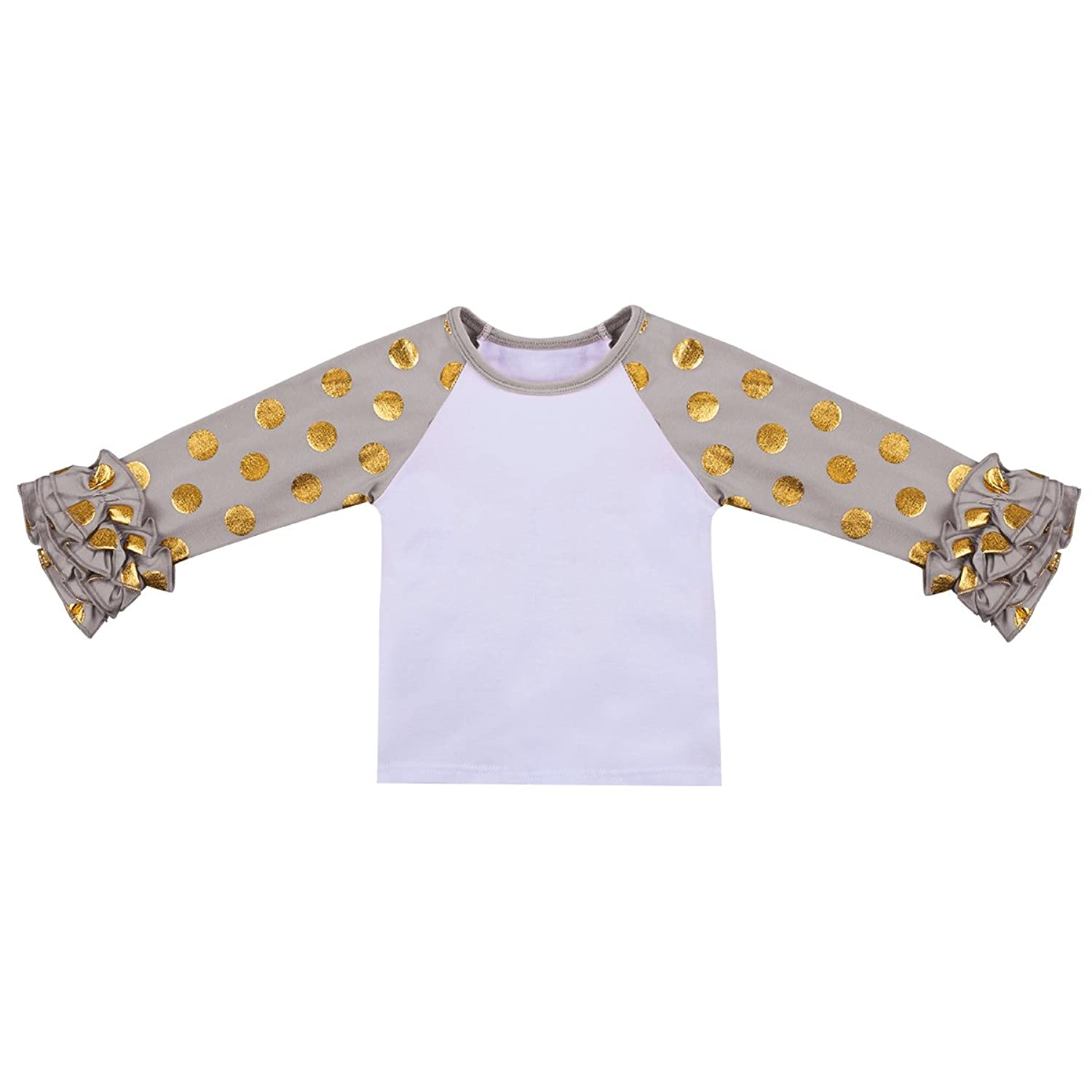 9e44eb90d Toddler baby kids girls casual long sleeve O-neck double icing ruffle t- shirt,infant girl layer ruffled undershirt tee birthday party photo shoot