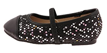 Sequined with Metallic Faux Leather Toe Cap & Elastic Bridge Strap Toddler Girls Flat