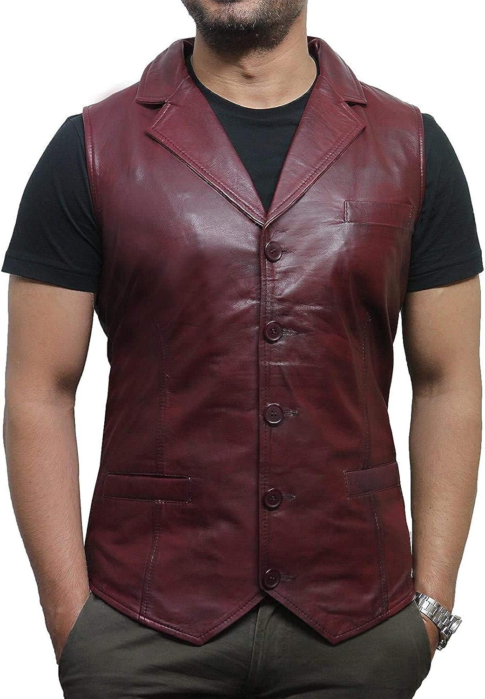 Brandslock Para hombre elegante de la vendimia Fit Chaleco del cuero del diseñador