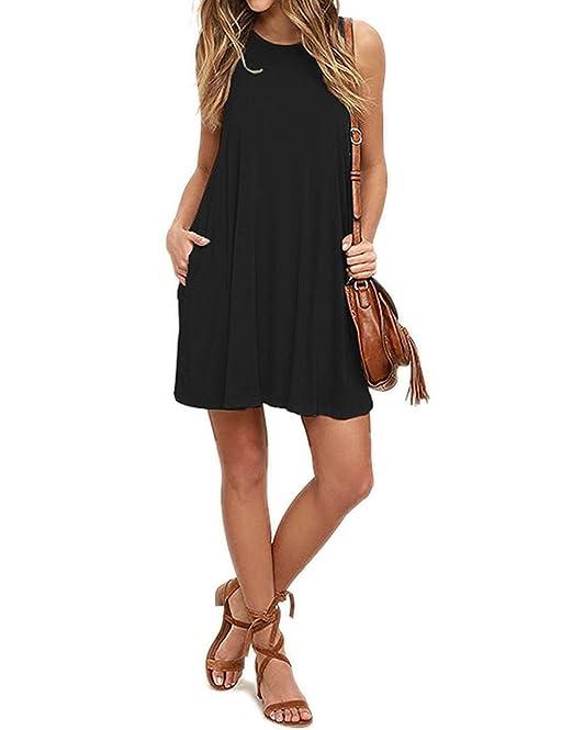 Vestido de mujer, Lananas 2018 Mujeres Vestido de verano Casual Sin mangas O-cuello Bolsillos Color sólido Swing Vestidos: Amazon.es: Ropa y accesorios