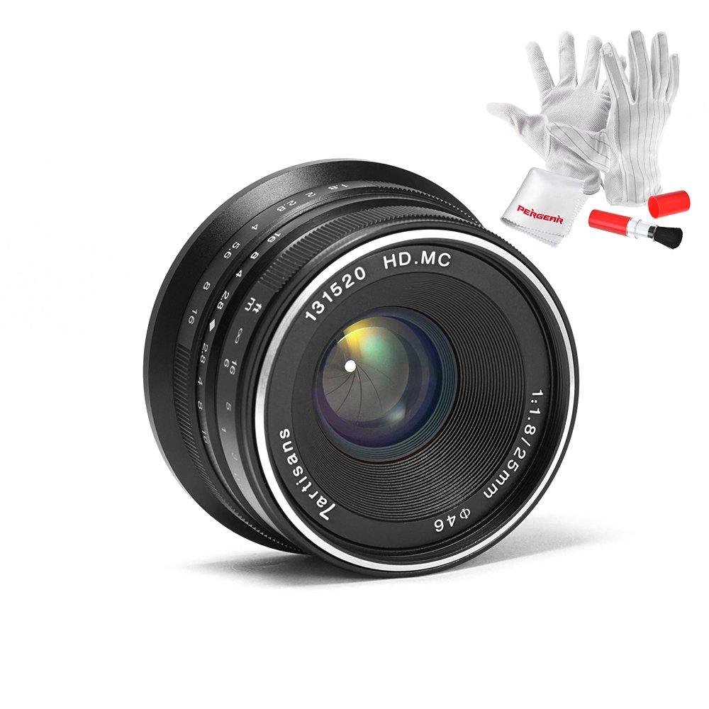 7artisans 25mm F1.8 APS-C Manual Focus Prime Fixed Lens for Fujifilm Fuji Cameras X-A1 X-A10 X-A2 X-A3 X-at X-M1 XM2 X-T1 X-T10 X-T2 X-T20 X-Pro1 X-Pro2 X-E1 X-E2 X-E2s - Black by 7artisans
