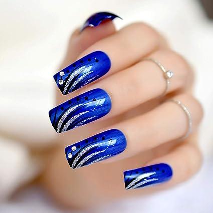 EchiQ - uñas postizas de color azul real 3D, largas, cuadradas, brillantes,