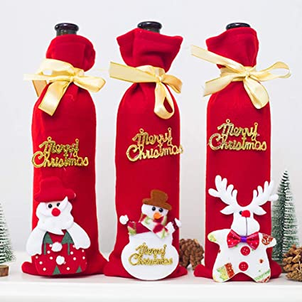 3pcs christmas wine bottle cover holiday red wine bags wine gift bags champagne bags santa claus - Christmas Wine Bottle Decorations