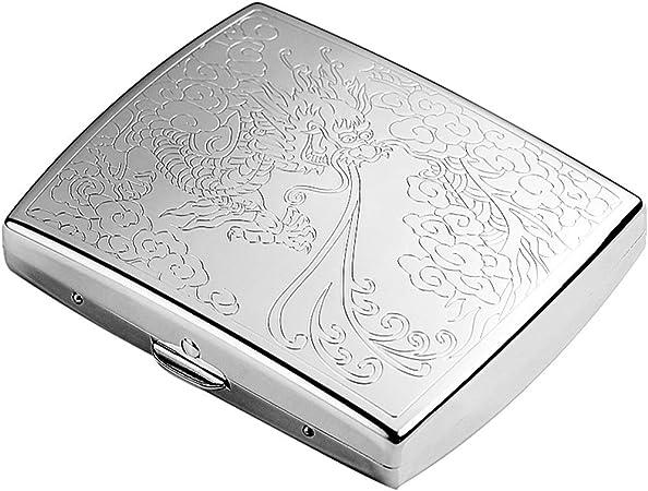YXZN Pitilleras Estuche de Metal para Cigarrillos Portátil Ultrafino Impermeable A Prueba de Humedad Caja de Cigarrillos para Hombres Gran Capacidad Puede acomodar 18: Amazon.es: Hogar