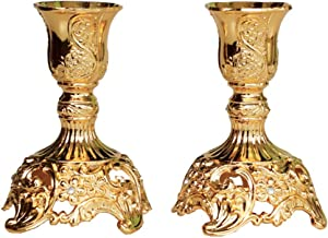 JAZPlayer Gold Taper Candle Holders with Deluxe Engraved Design, Set of 2 Premium Gold Candlestick Holders (Gold)